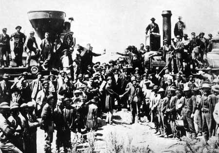 Photo of the 1869 Golden Spike Ceremony at Promontory, Utah